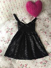 Topshop Must See ❤ Black Sequin Skater Dress Sweetheart 12 Party Prom