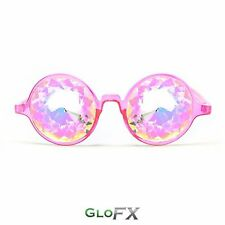 GloFX Transparent Pink Kaleidoscope Glasses – Rainbow EDM Rave Lightshow Optics