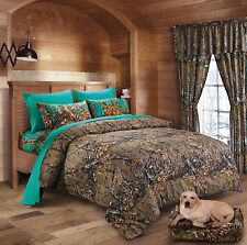 4 PC CAMO COMFORTER AND TEAL SHEET SET TWIN BED IN BAG HUNTER CAMOUFLAGE WOODS