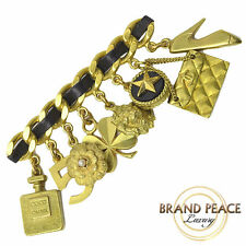 CHANEL brooch chain motif icon Charm Gold 94A vintage Free Shipping