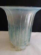 Rene Lalique  c 1925 R. Lalique Eucalyptus Vase Opalescent w/ Turquoise Patina