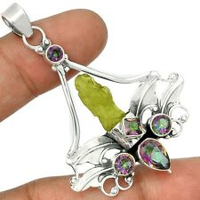 Sacred Angel Wings - Moldavite & Rainbow Topaz  Silver Pendant    SP207099