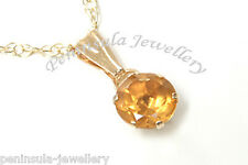 9ct Gold Citrine Pendant and Chain Made in UK Gift Boxed
