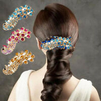 Bridal Peacock Full Crystal Rhinestones Barrette Hair Clip Retro Decoration