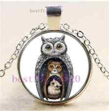 Owl Family Photo Cabochon Glass Tibet Silver Chain Pendant Necklace#1I0