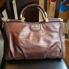 ❤LIMITED EDITION COACH BRONZE CROCODILE EMBOSSED LEATHER SATCHEL BAG C1293-19852