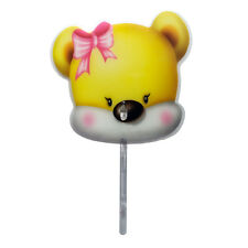 Cute Cartoon Kids Portable Plastic Handheld Hand Fan with Pipe Yellow Bear 1pc