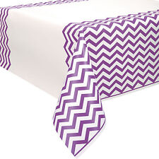 "54"" x 108""  Pretty Purple White Chevron Zig Zag Party Plastic Table Cover"