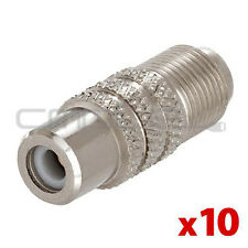 10x F Type Female to RCA Female Connector Coupler Coax Cable Adapter Video Lot