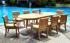 9 PC TEAK DINING SET GARDEN OUTDOOR PATIO FURNITURE POOL D5 GIVA ARM DECK DINING