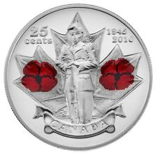 2010 Canada Remembrance Day Poppy 25cents UNC From Roll