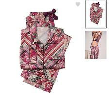 Victorias Secret $72 Sexy Afterhours Satin Pajama set L/R Large Patchy Red NWT