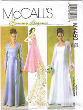 Floor Length Bridal Wedding Prom Dress Gown Shrug Sewing Pattern Size 4 6 8 10