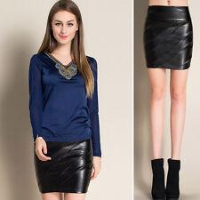 UK 6-12 Sexy Womens High Waist Slim PU Faux Leather Designed Skirts Mini Dress