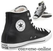 Men Women CONVERSE All Star SHEARLING LEATHER HI BLACK Boots Trainer UK SIZE 7.5
