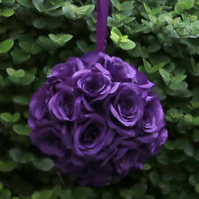 "Deep Dark Purple 9"" In Romantic Flower Kissing Ball Pomander Wedding Decor Roses"