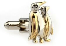 Penguin Cufflinks Silver Gold 2 Tone Wedding Fancy Gift Box Free Ship USA