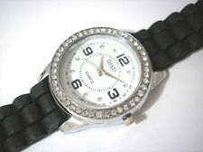 Bling Bling Black Rubber Band Ladies & Girls Watch Item 3663