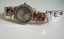 ladies Tortoise Shell/Silver designer shopping style crystals  bracelet watch