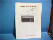 "1991 KITCHENAID ELECTRIC 30"" BUILT-IN MICROWAVE HOOD USE CARE GUIDE KHMS105W-1"