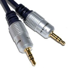 15m SCHERMATO OFC 3.5 MM JACK SPINA Aux Cavo Audio Lead Per Cuffie / MP3 / iPod / auto