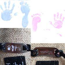 MEN's leather ID Bracciale incisi con testo o a mano / piede stampa