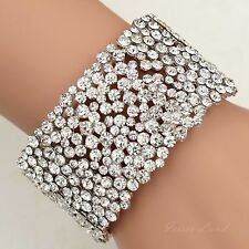 Rhodium Plated Clear Crystal Wedding Bangle Cuff Stretch Bracelet 09992 Prom