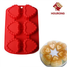 6-Cavity Heart Silicone Cake Pan Pudding Ice Cube Candy Baking Mold Muffin Mould