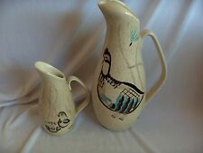 2 Vintage Red Wing Pottery Pitchers 60 Oz Water Creamer Syrup Pitcher Bob White