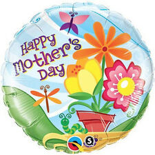 "MOTHER'S DAY BALLOON 18"" DAISIES & HEARTS QUALATEX ROUND SHAPED FOIL BALLOON"