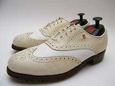 WOMENS FOOT JOY CLASSICS 90373 WHITE CREAM WINGTIP LEATHER GOLF SHOES 7.5~1/2 B