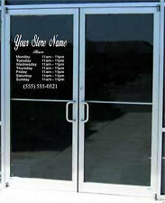 Custom Business Store Hours Sign Vinyl Decal Sticker 17 x 15 Window Door Glass