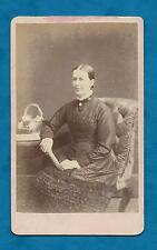 C1870'S CDV LADY IN SILK RUFFLED DRESS - J. PHILLIPS OF BIGGLESWADE PHOTOGRAPHER