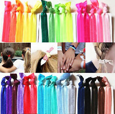 30pcs Women Rainbow Color Elastic Ponytail Holder Ribbon Bow Hair Ties
