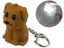 Brown Puppy Dog Key Chain Ring with LED Light and Animal Sound