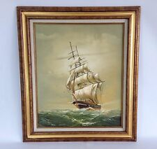 Oil on Canvas Naval Ship Vessel Signed Artwork Painting Seascape Ocean
