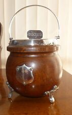Antique Oak Wood and Silver EPNS Biscuit Barrel