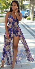 Backless V-Neck Multi-Color Floral Romper Maxi Dress Skirt Overlay Jumpsuit Sz M