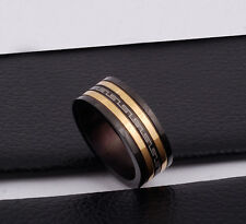 Mens Unisex Stainless Steel Ring Band Black Gold Roman Size 10 L9