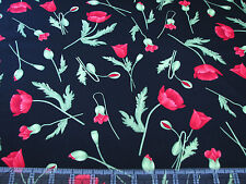 3 Yards Quilt Cotton Fabric - Timeless Treasures Flora Red Poppies on Black