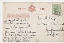 Miss Mahaffy, 31 Manor Crescent, Cliftonville, Belfast 1908 Postcard, B366
