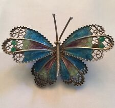 Vintage 800 Silver Filigree Green/Blue Enamel Butterfly Pin Brooch