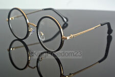 Vintage 48mm Round Bright Black Gold Eyeglass Frame Full Rim Glasses Spectacles