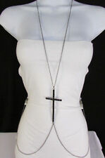 New Women Black Metal Body Chain Big Cross Rhinestones Necklace Fashion Jewelry