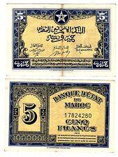 ETAT DE Maroc MOROCCO Billet 5 FRANCS 1943 P24 WWI EF