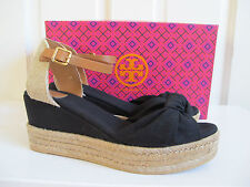 NIB $225 TORY BURCH Knotted Canvas Bow Wedge Espadrille Sandals Black Tan sz 8