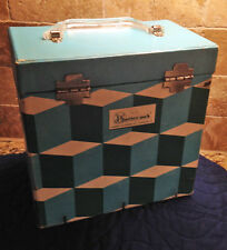 Vintage Platter-Pak 45 RPM Record Storage Case  No. 740, Op-Art MSM - Holds 50