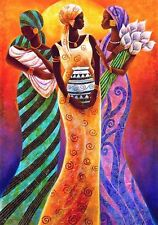 "African American Black Art Print ""SISTERS OF THE SUN"" by Keith Mallett"