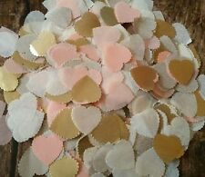 1200+ PEACH&GOLD&IVORY SCALLOPED HEART WEDDING THROWING CONFETTI/DECORATION