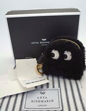 ANYA HINDMARCH Pac Man Black Shearling Fur GHOST Key Fob Coin Purse NIB $495